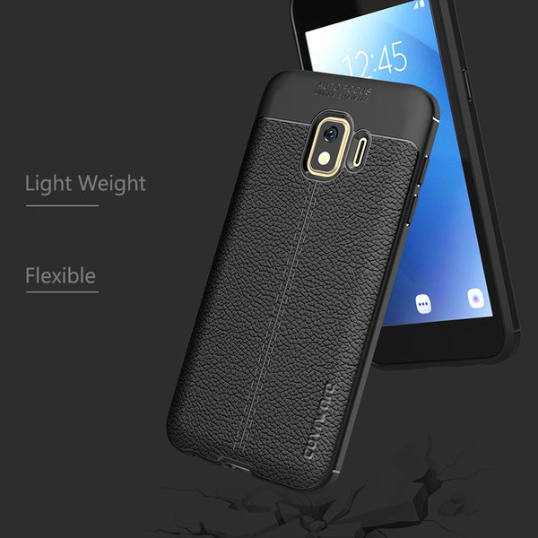 Galaxy J2 Pure / J2 Core / J2 Dash / J2 / 2019 Case, COVRWARE [L Series] with [Tempered Glass Screen Protector] TPU Leather Texture Design Cover [Light Weight], Black