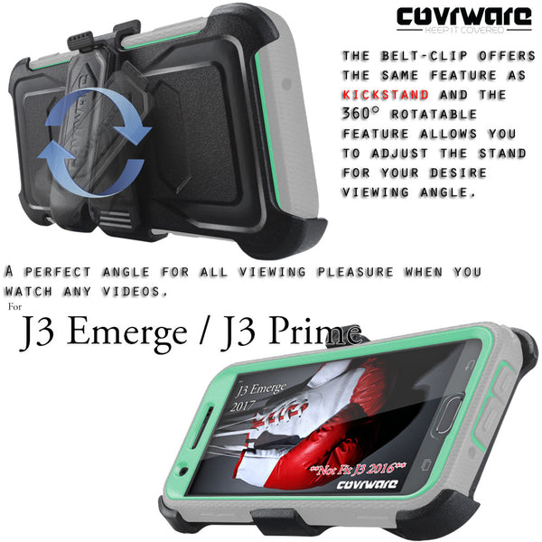 Samsung Galaxy J3 Emerge / J3 Prime / Eclipse / Mission / Express Prime 2 / Luna Pro / Amp Prime 2 / Sol 2 / J3 2017 [ Aegis Series ] Full-Body Armor Rugged Holster Case w/ Built-in Screen Protector [Kickstand][Belt-Clip]