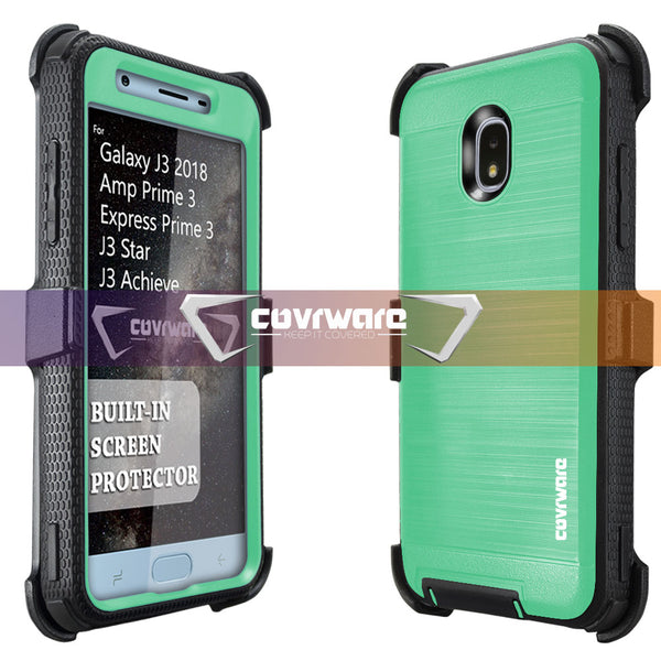 Samsung Galaxy J3 (2018) / J3 V (2018) 3rd Gen / J3 Star / J3 Achieve / Amp Prime 3 / Express Prime 3 [IRON TANK Series] Brushed Metal Texture Designed Holster Case with Built-in Screen Protector