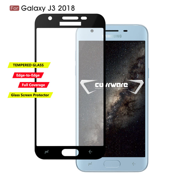 Galaxy J3 (2018) / J3 V 3rd / Express Prime 3 / Achieve / J3 Star / Amp Prime 3 Case, COVRWARE Tempered Glass Screen Protector Ring Holder Kickstand 360° Ring Grip Stand Work Magnetic Car Mount