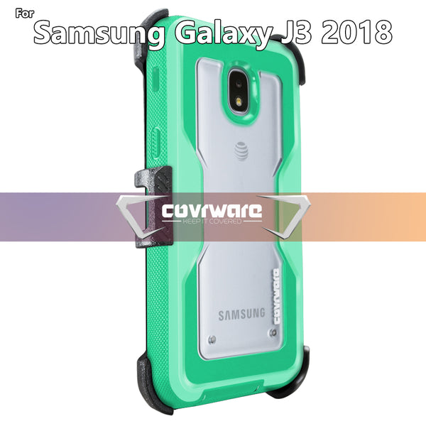 Samsung Galaxy J3 (2018)/J3 V 3rd/Express Prime 3/Achieve/J3 Star/Amp Prime 3 Case, COVRWARE [Aegis Pro] Built-in [Screen Protector] Heavy Duty Full-Body Armor Belt Clip Holster Case[Kickstand]