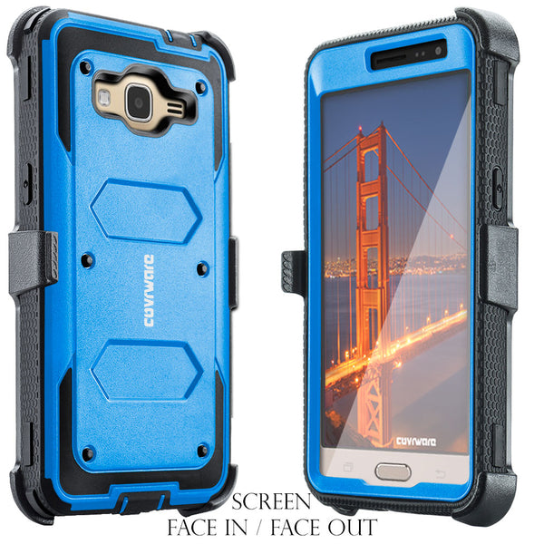 Samsung Galaxy J3 (2016)/ J3 V/ Sky/ Sol/ Amp Prime/ Express Prime [ Aegis Series ] Full-Body Armor Rugged Holster Case w/ Built-in Screen Protector [Kickstand][Belt-Clip]
