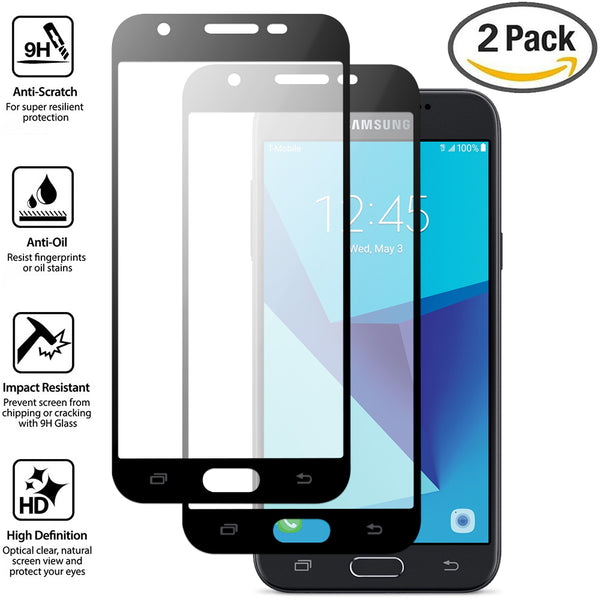 Samsung Galaxy J3 Prime, COVRWARE - [ Edge to Edge Full-Coverage Tempered Glass Screen Protector ] [ Ultra-clear ] - Slim Super Hardness and Oleophobic Coating - Crystal Clear [2-PACK]