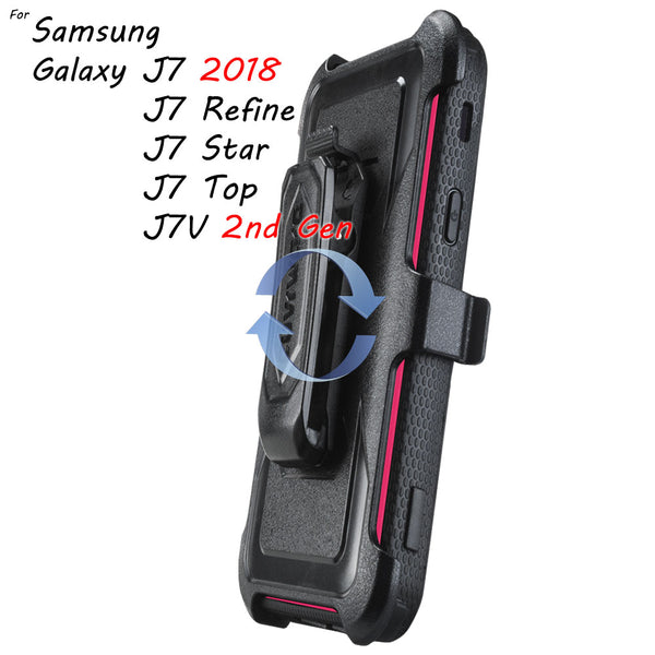 Samsung Galaxy J7 2018 / J7 Refine / J7V (2nd Gen) / J7 Star / J7 Top / J7 Crown / J7 Aero [ Aegis Series ] Full-Body Armor Rugged Holster Case with Built-in Screen Protector [Kickstand][Belt-Clip]