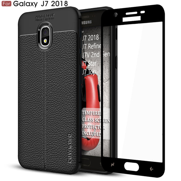 Samsung Galaxy J7 2018 / J7 Refine / J7V (2nd Gen) / J7 Star / J7 Top Case, COVRWARE [ L Series ] Case with [Full Coverage 3D Tempered Glass Screen Protector] TPU Leather Texture Design [Light Weight] Slim Cover