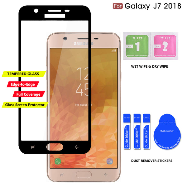 Samsung Galaxy J7 2018 / J7 Refine / J7V 2nd Gen / J7 Star / J7 Top Case, COVRWARE Tempered Glass Screen Protector Ring Holder Kickstand 360° Ring Grip Stand Work Magnetic Car Mount