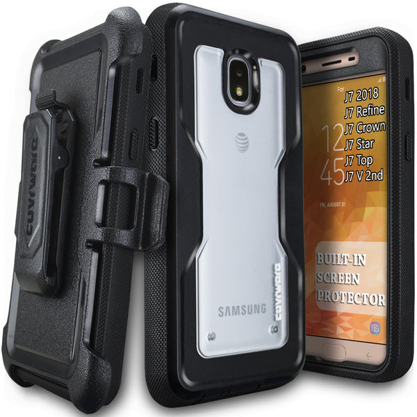 Samsung Galaxy J7 2018/J7 Refine/J7V 2nd Gen/J7 Star/J7 Top/J7 Crown Case, COVRWARE [Aegis Pro] Built-in [Screen Protector] Heavy Duty Full-Body Armor Belt Clip Holster Case[Kickstand]