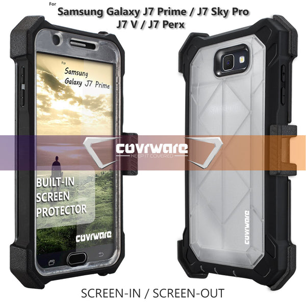 Samsung Galaxy J7 Prime / J7 Sky Pro / J7 V / J7 Perx [Ranger Pro] Full-Body Armor Holster Case with Built-in Screen Protector [Kickstand][Belt-Clip]
