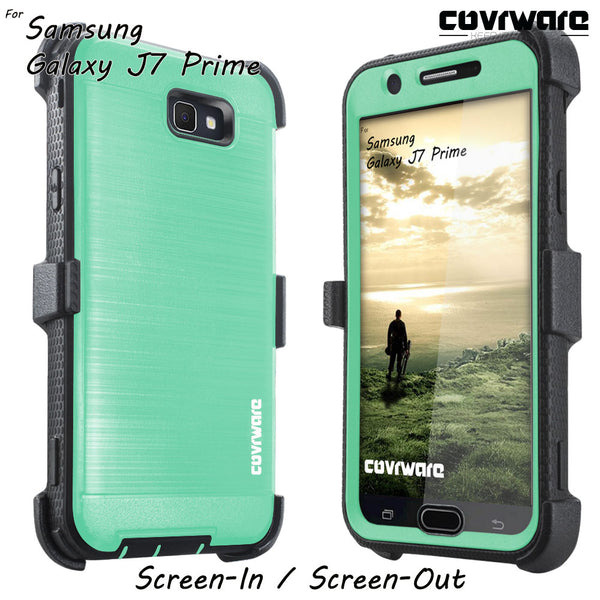 Samsung Galaxy J7 Prime/ J7 Sky Pro / J7 Perx/ J7 V / J7 2017 [IRON TANK Series] Brushed Metal Texture Designed Holster Case with Built-in Screen Protector