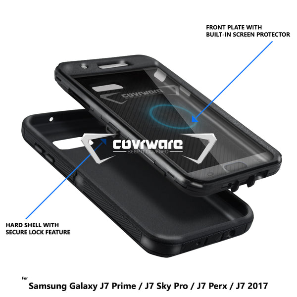 Samsung Galaxy J7 2017 / J7 Prime / J7 Sky Pro / J7 V, COVRWARE [Tri Series] w/ Built-in [Screen Protector] Heavy Duty Full-Body Triple Layers Protective Armor Case
