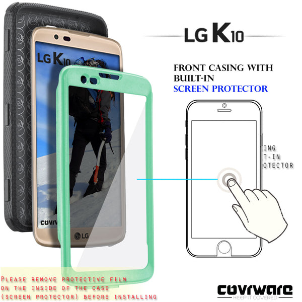 LG K10 / LG Premier LTE [ Aegis Series ] Heavy Duty Full-Body Armor Rugged Holster Case with Built-in Screen Protector [Belt-Clip][Kickstand]