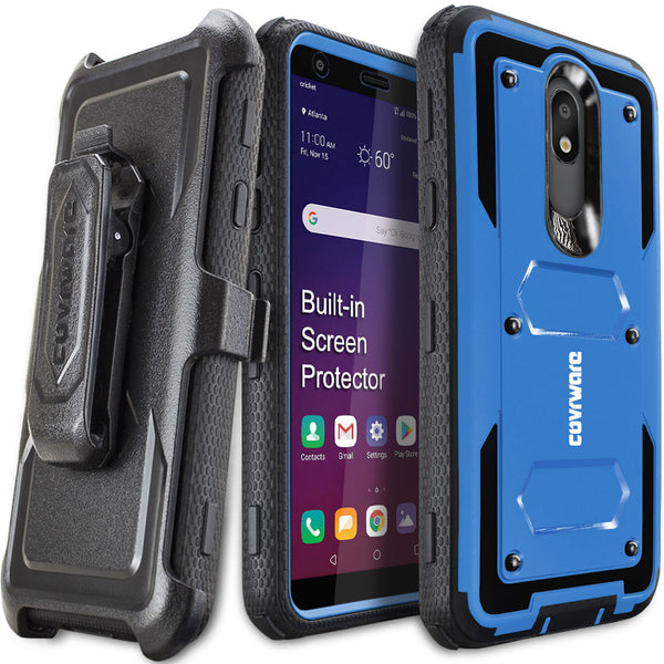LG Aristo 4+ / Aristo 4 PLUS / Journey LTE / Tribute Royal / LG Prime 2 / Escape Plus / Arena 2, COVRWARE [Aegis Series] Case [Built-in Screen Protector] Heavy Duty Full-Body Rugged Holster Armor Case [Belt Clip][Kickstand]