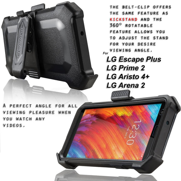 LG Aristo 4+ / Aristo 4 PLUS / Journey LTE / Tribute Royal / LG Prime 2 / Escape Plus / Arena 2, COVRWARE [Aegis Pro] Case [Built-in Screen Protector] Heavy Duty Full-Body Rugged Holster Armor Case [Belt Clip][Kickstand]