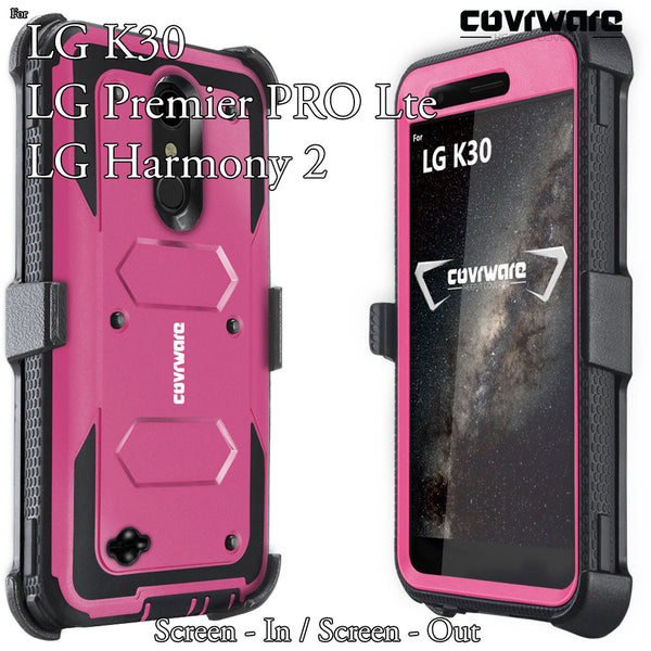 LG K30 / LG Premier Pro LTE / LG Harmony 2 [ Aegis Series ] Full-Body Armor Rugged Holster Case with Built-in Screen Protector [Kickstand][Belt-Clip]
