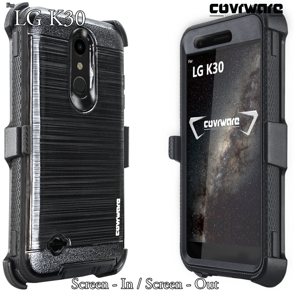 LG K30 / LG Premier Pro LTE/LG Harmony 2 case, COVRWARE [ Iron Tank Series  ] with Built-in [Screen Protector] Full-Body Armor Cover Brush Metal
