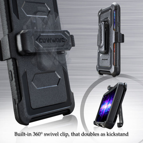 LG Aristo 5 / Aristo 5 Plus / K31 K300 / Phoenix 5 / Fortune 3 Case, [Built-in Screen Protector] Holster Belt Swivel Clip Kickstand Heavy Duty Full Body Armor Cover [Aegis Series]