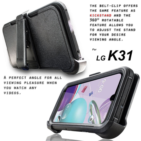 LG Aristo 5 / Aristo 5 Plus / K31 / K300 / Phoenix 5 / Fortune 3 Case, COVRWARE [Built-in Screen Protector] Holster Belt Swivel Clip Kickstand Heavy Duty Full Body Armor Cover [Tri Series]