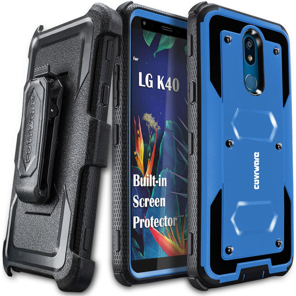 LG K40 / LG K12 Plus / LG X4 2019 / LMX420 Case, COVRWARE [Aegis Series] Case [Built-in Screen Protector] Heavy Duty Full-Body Rugged Holster Armor Case [Belt Clip][Kickstand]