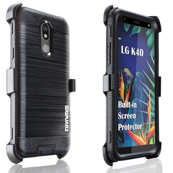 LG K40 / LG K12 Plus / LG X4 2019 / LMX420 Case, [IRON TANK Series] Brushed Metal Texture Holster Case with Built-in Screen Protector [Kickstand][Belt-Clip]