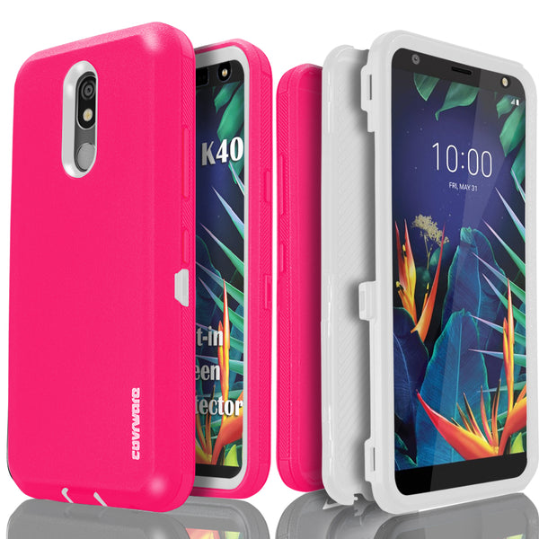 LG K40 / Xpression Plus 2 / Harmony 3 / Solo LTE / K12 Plus / X4 2019 Case, COVRWARE [Tri Series] Built-in [Screen Protector] Heavy Duty Full-Body Protective Armor Cover