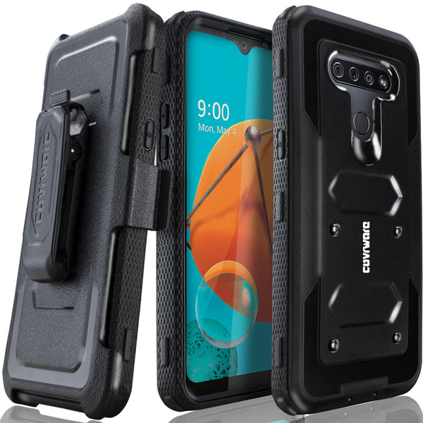 LG K51 / LG Q51 / LG Reflect Case [Built-in Screen Protector] Holster Belt Swivel Clip Kickstand Heavy Duty Full Body Armor Shockproof Protective Case [Aegis Series]