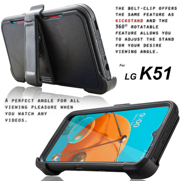 LG K51 / LG Q51 / LG Reflect Case [Built-in Screen Protector] Holster Belt Swivel Clip Kickstand Heavy Duty Full Body Armor Shockproof Protective Case [Tri Series]
