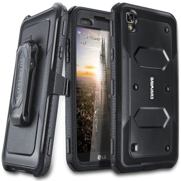 LG X Power / K6P Case, [ Aegis Series ] Full-Body Armor Rugged Holster Case with Built-in Screen Protector [Kickstand][Belt-Clip]