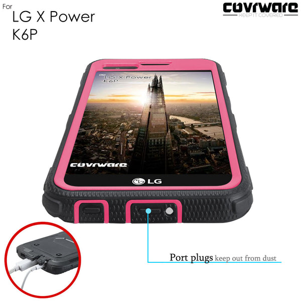 LG X Power / K6P Case, [IRON TANK Series] Brushed Metal Texture Designed Holster Case with Built-in Screen Protector [Kickstand][Belt-Clip]