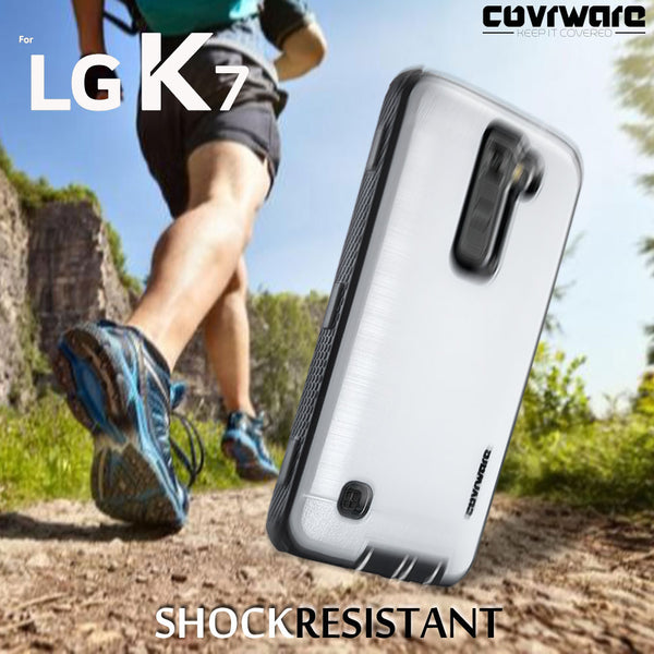 LG K7 / Tribute 5 / Escape 3 / Treasure / Phoenix 2, [IRON TANK] Brushed Metal Texture Designed Holster Case With Built-In Screen Protector
