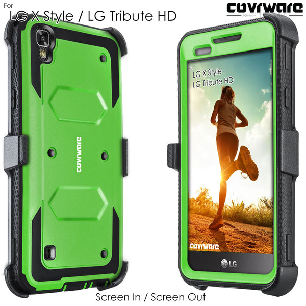 LG Tribute HD / LG X Style / LG Volt 3 [ Aegis Series ] Full-Body Armor Rugged Holster Case with Built-in Screen Protector