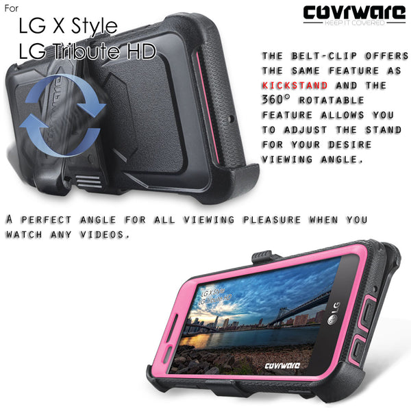 LG Tribute HD / LG X Style / LG Volt 3 [IRON TANK Series] Brushed Metal Texture Holster Case with Built-in Screen Protector