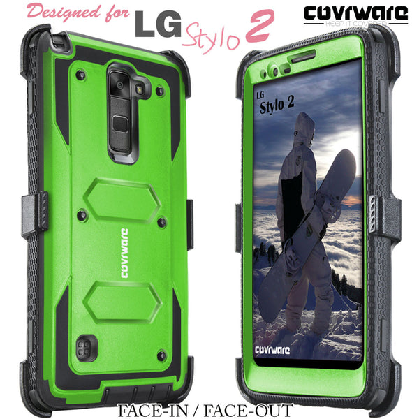 LG G Stylo 2 / LG G Stylo 2 Plus / LG Stylo 2 V [ Aegis Series ] Full-Body Armor Rugged Holster Case with Built-in Screen Protector