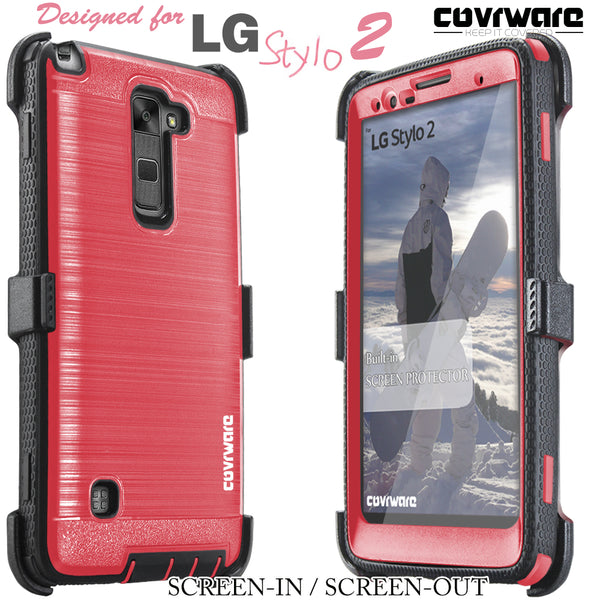 LG Stylo 2 /LG Stylo 2 Plus /LG Stylo 2 V [IRON TANK Series] Brushed Metal Texture Holster Case with Built-in Screen Protector