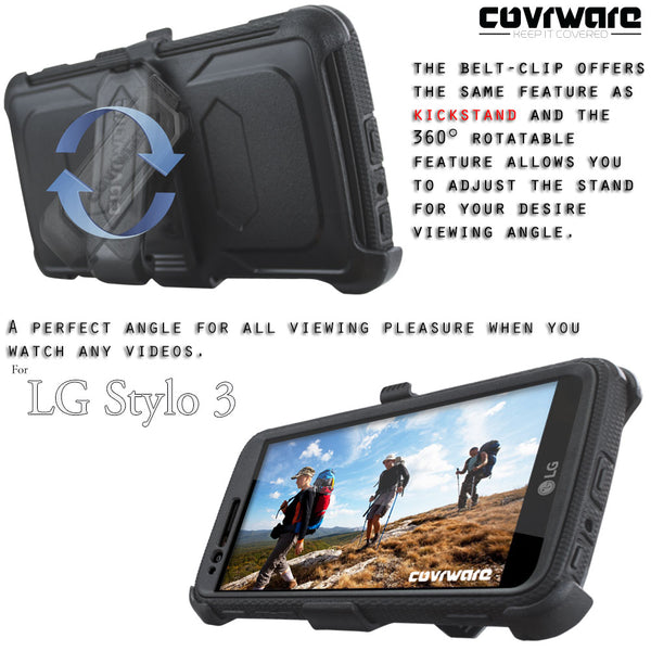 LG Stylo 3 / LG Stylo 3 Plus [ Aegis Series ] Full-Body Armor Rugged Holster Case with Built-in Screen Protector [Kickstand][Belt-Clip]