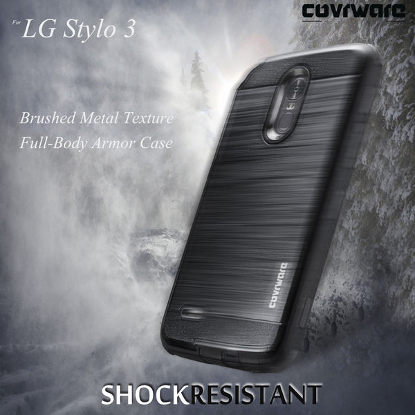 LG Stylo 3 / LG Stylo 3 PLUS [IRON TANK Series] Brushed Metal Texture Holster Case with Built-in Screen Protector [Kickstand][Belt-Clip]