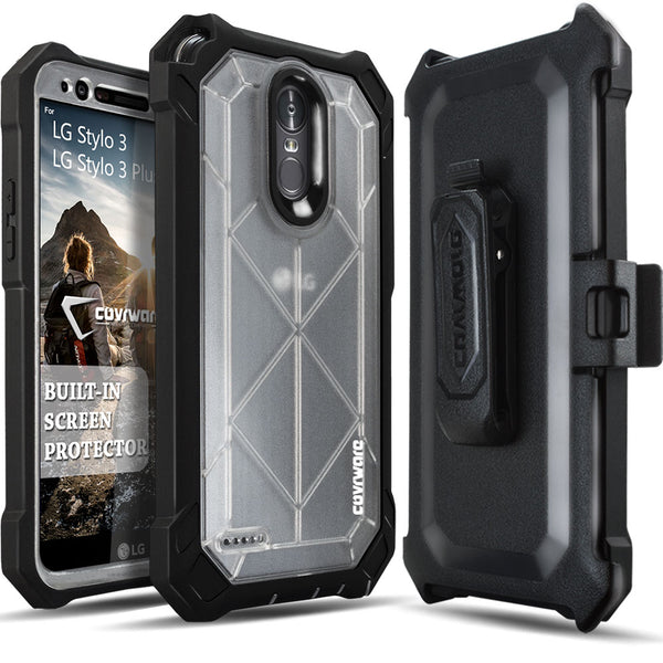 LG Stylo 3 / Stylo 3 Plus [Ranger Pro] Full-Body Armor Holster Case with Built-in Screen Protector [Kickstand][Belt-Clip]