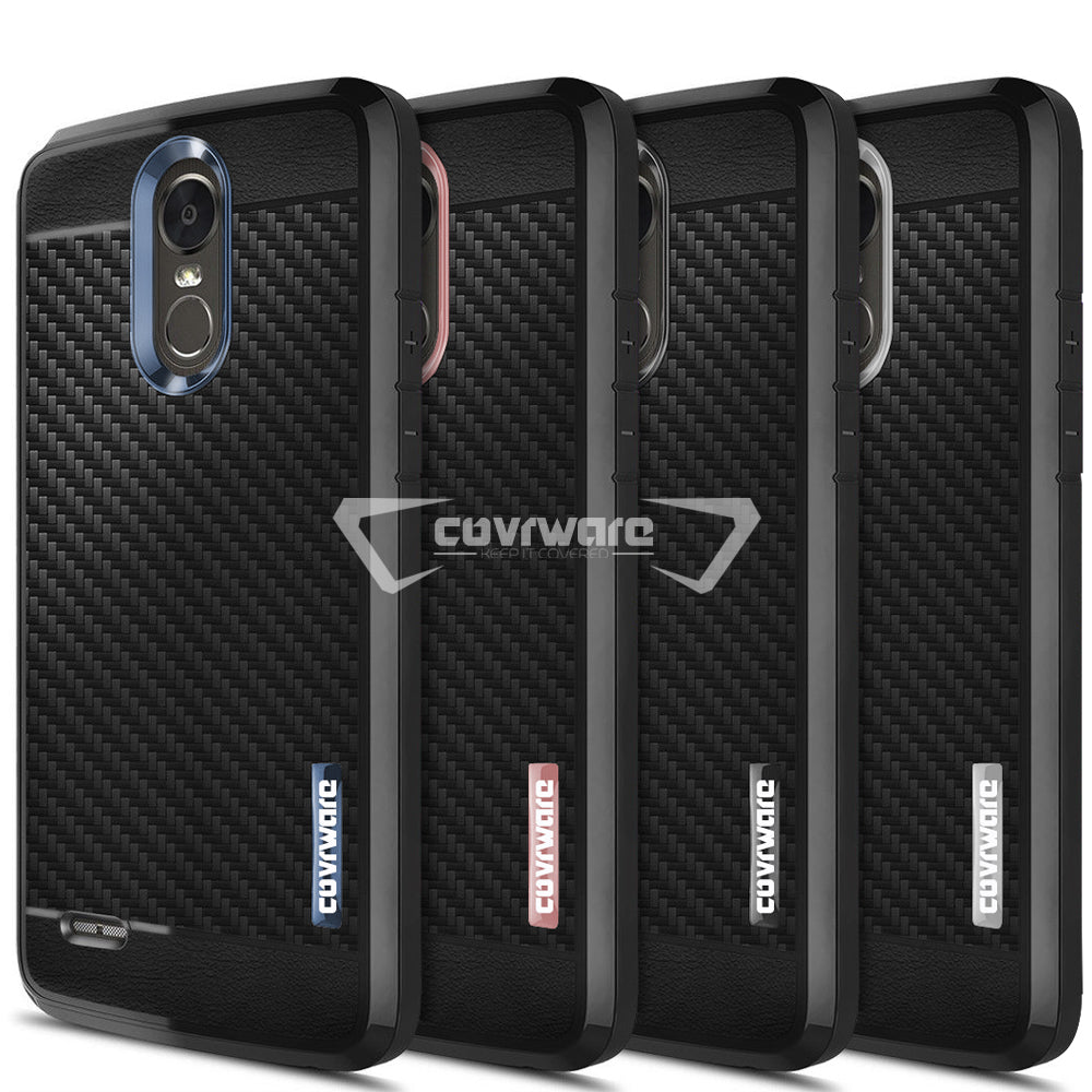 best sneakers e8935 79668 LG Stylo 3 / LS777 Case, COVRWARE [Shield Series] with [Full Coverage 3D  Tempered Glass Screen Protector] Soft Flexible TPU Cover with [Carbon Fiber  ...