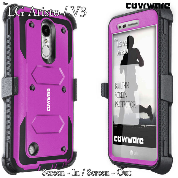 LG Aristo 3 / Aristo 2 / Aristo / Fortune / K8 (2017) / LV3 / Rebel 2 [ Aegis Series ] Full-Body Armor Rugged Holster Case with Built-in Screen Protector
