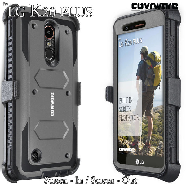 LG K20 Plus / K20 V / Harmony / Grace 4G [ Aegis Series ] Full-Body Armor Rugged Holster Case with Built-in Screen Protector [Kickstand][Belt-Clip]