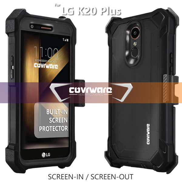 LG K20 Plus / K20 V / Harmony / Grace 4G [Ranger Pro] Full-Body Armor Holster Case with Built-in Screen Protector [Kickstand][Belt-Clip]