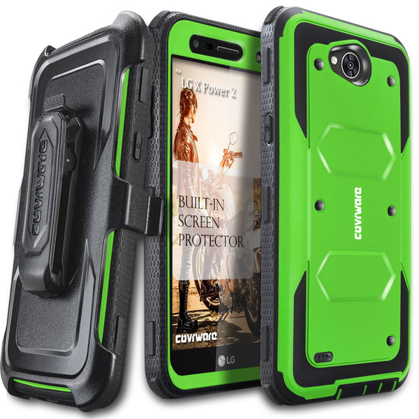 LG X Power 2 / LG X Charge / LG Fiesta 2 / LG Fiesta LTE / K10 Power [ Aegis Series ] Full-Body Armor Rugged Holster Case with Built-in Screen Protector [Kickstand][Belt-Clip]