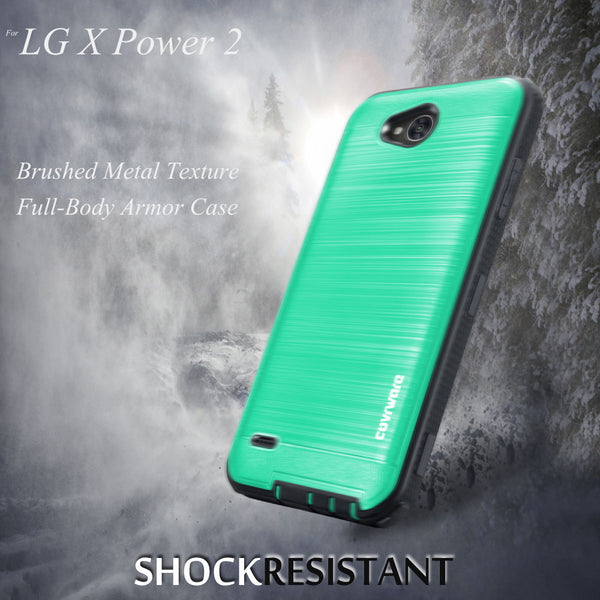 LG X Power 2 / LG X Charge / LG Fiesta 2 / LG Fiesta LTE / K10 Power [IRON TANK Series] Brushed Metal Texture Designed Holster Case with Built-in Screen Protector [Kickstand]