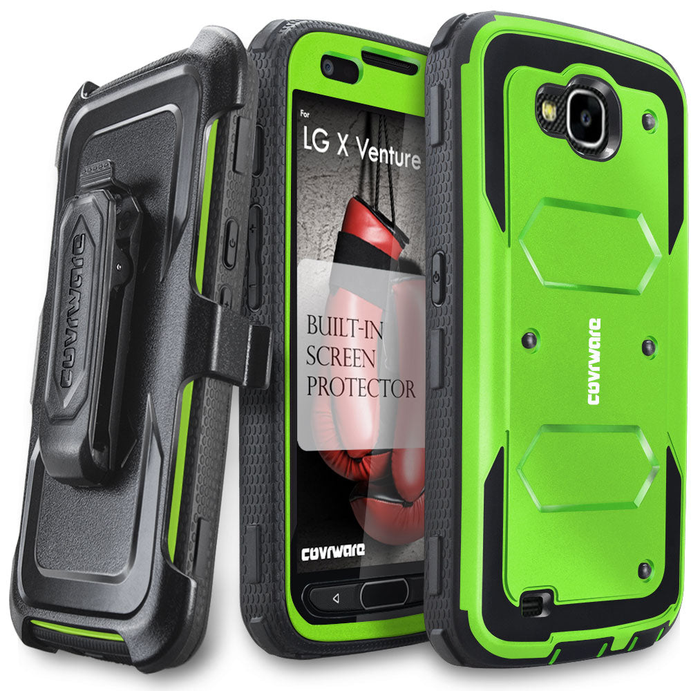 brand new 07a8b 45367 LG X Venture / LG X Calibur / LG V9 [ Aegis Series ] Full-Body Armor Rugged  Holster Case with Built-in Screen Protector [Kickstand][Belt-Clip]