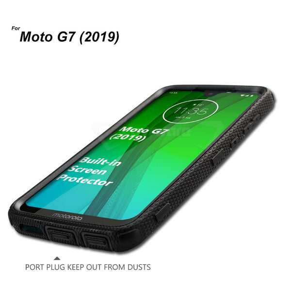 Moto G7 (2019) / G7 Plus [IRON TANK Series] Brushed Metal Texture Holster Case with Built-in Screen Protector [Kickstand][Belt-Clip]