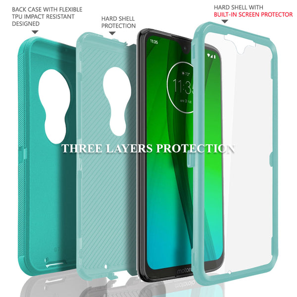 Moto G7 (2019) / G7 PLUS, COVRWARE [Tri Series] w/ Built-in [Screen Protector] Heavy Duty Full-Body Triple Layers Protective Armor Case