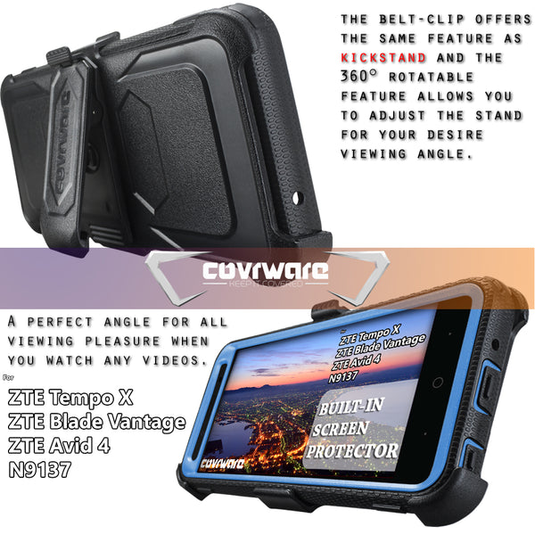 ZTE Tempo X (N9137) / Blade Vantage (N837) / Avid 4 [ Aegis Series ] Full-Body Armor Rugged Holster Case with Built-in Screen Protector [Kickstand][Belt-Clip]