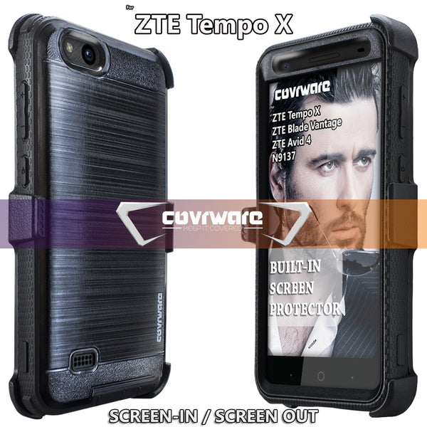 ZTE Tempo X (N9137) / Blade Vantage (N837) / Avid 4 [IRON TANK Series] Brushed Metal Texture Designed Holster Case with Built-in Screen Protector