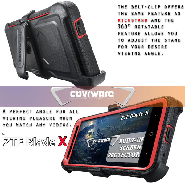ZTE Blade X (Z965) [ Aegis Series ] Heavy Duty Full-Body Armor Rugged Holster Case with Built-in Screen Protector [Belt-Clip][Kickstand]