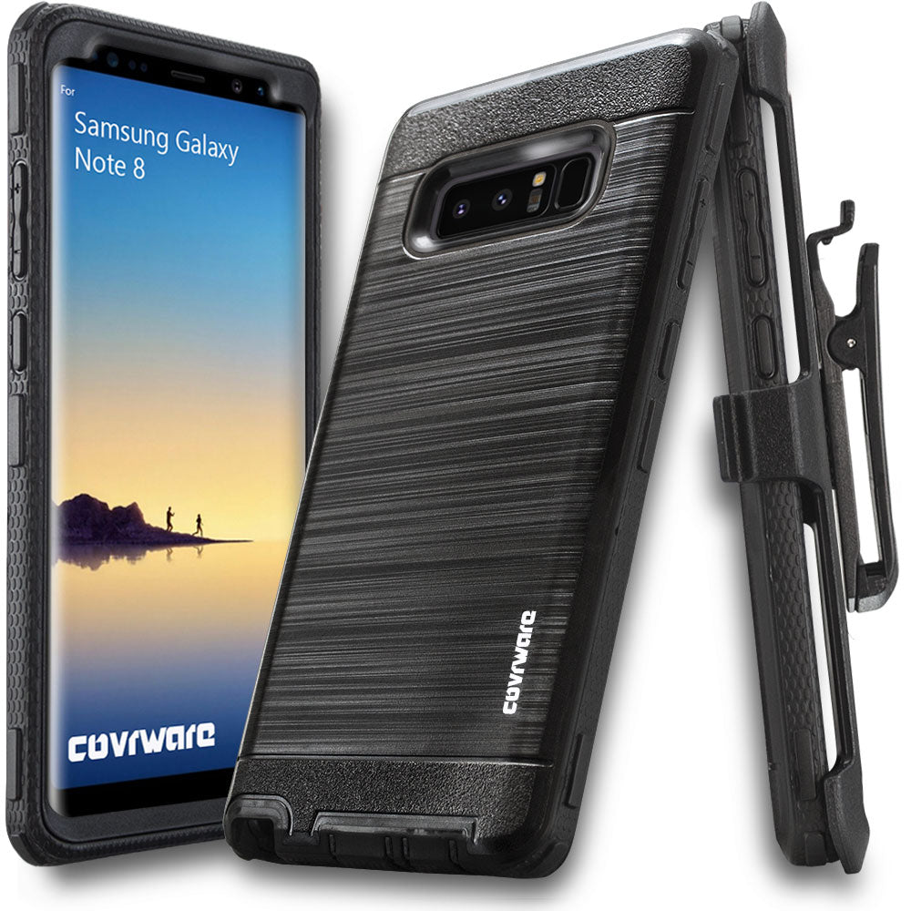 new photos ed953 f5441 Samsung Galaxy Note 8 [IRON TANK Series] Brushed Metal Texture Designed  Holster Case [Kickstand][Belt-Clip]