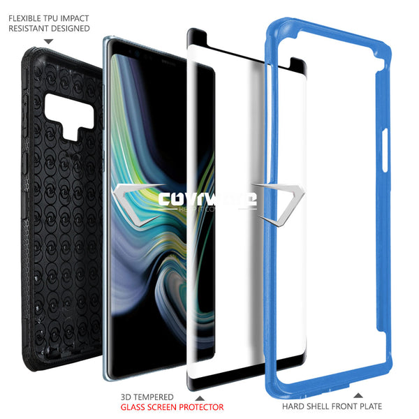 Samsung Galaxy Note 9 Case, COVRWARE [Aegis Series] + [Tempered Glass Screen Protector] Heavy Duty Full-Body Armor Protective Cover [Belt Clip Holster][Kickstand]